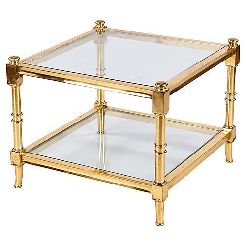Maison Jansen Style Brass Side Table