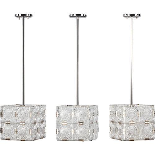 Set of Three Cut Glass French Pendants