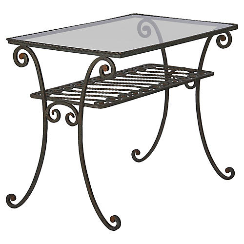 French Iron Console Table with Glass Top