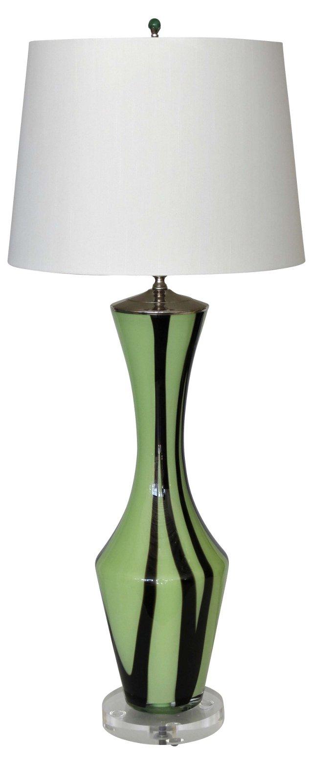 Mint Green Glass Lamp