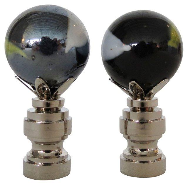 Black  Murano Glass Finials, Pair