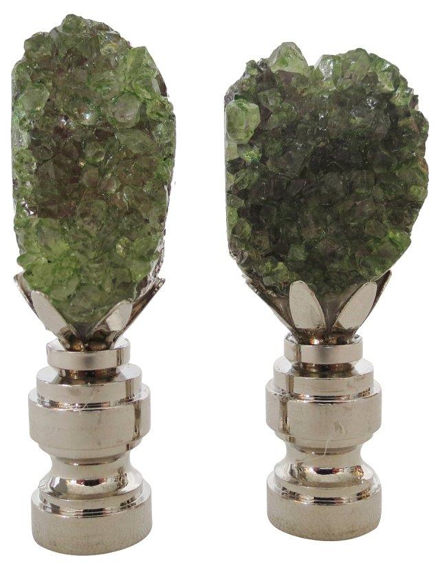 Green Geode & Silver Finials, Pair