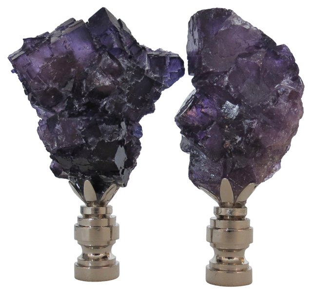 Deep Purple Rock Crystal Finials, Pair