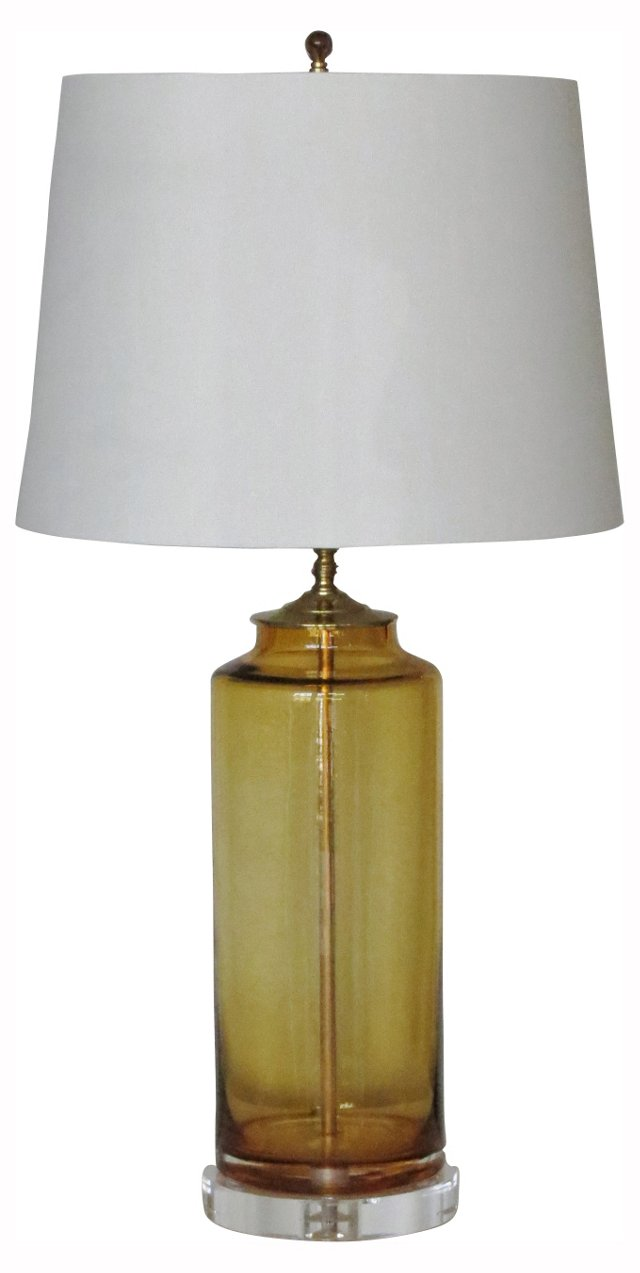 Light Gold Blown Glass Column Lamp