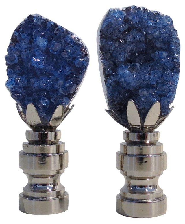 Deep Blue Geode Cluster Finials, Pair