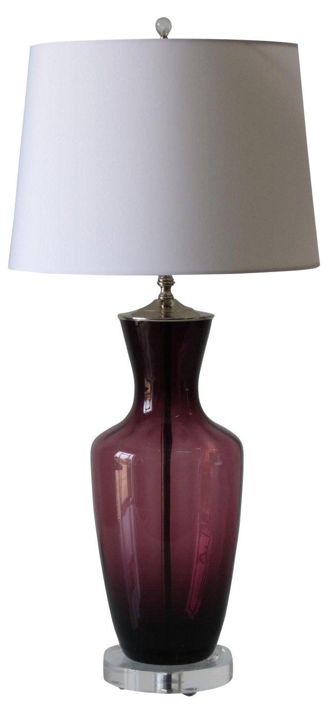 Deep Lilac Glass Lamp