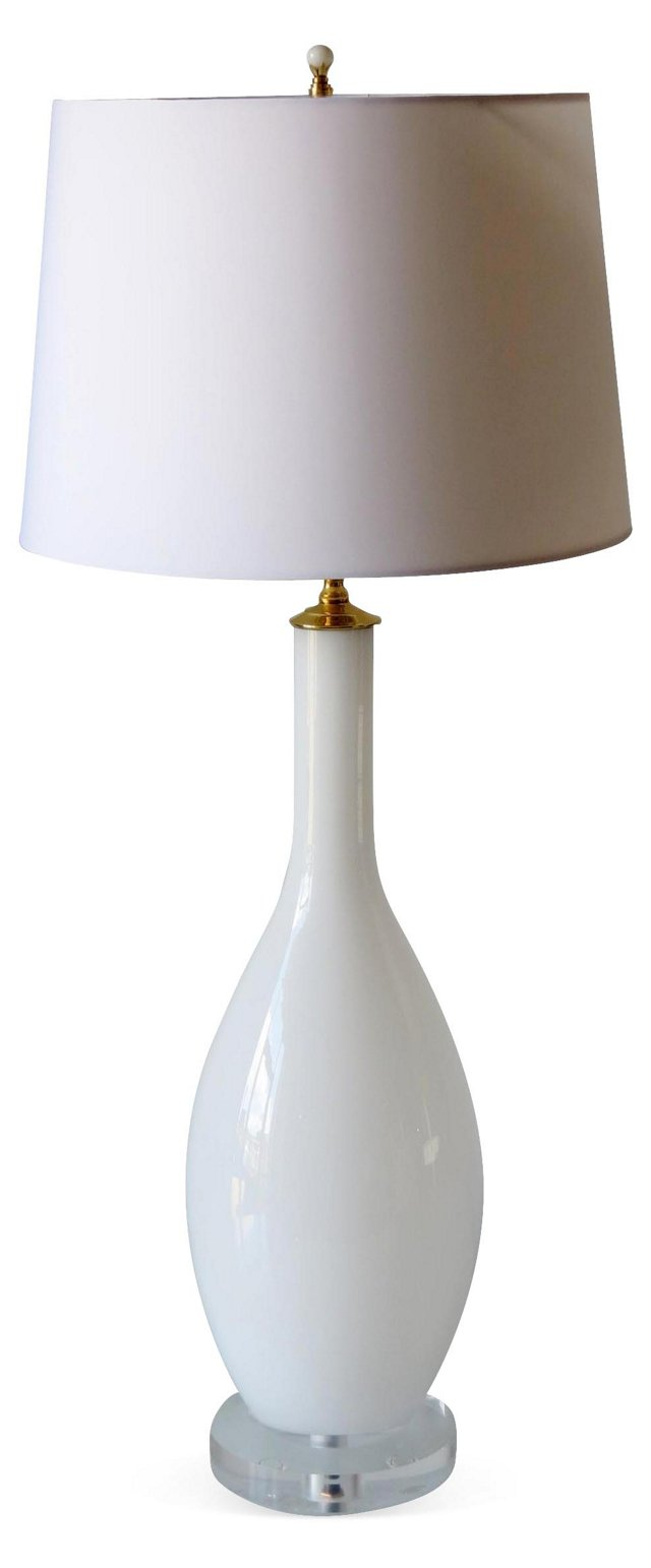 Tall White Blown Glass Lamp