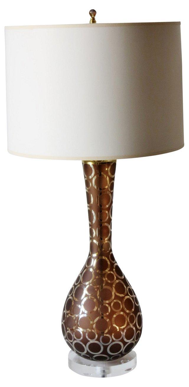 Mocha Glass Lamp w/ Mercury Circles