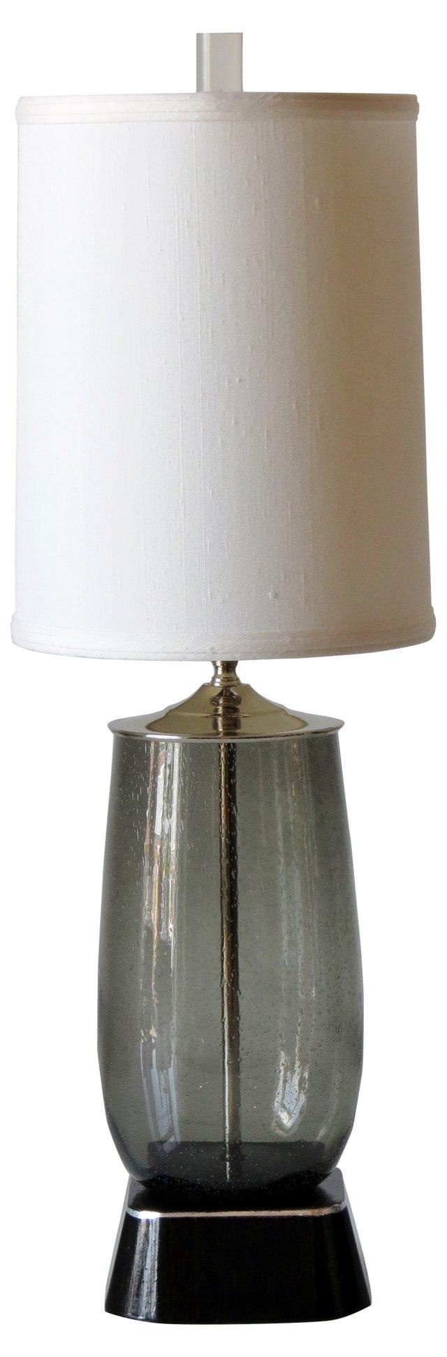 Gray Glass Lamp & Silk Shade