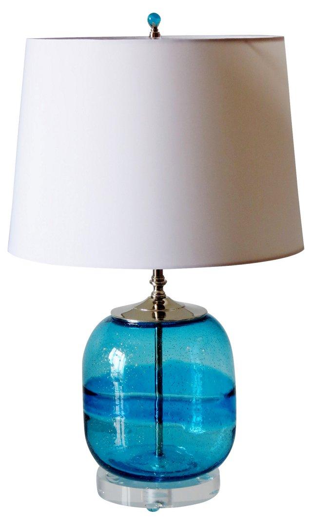 Ocean Blue Art Glass Lamp