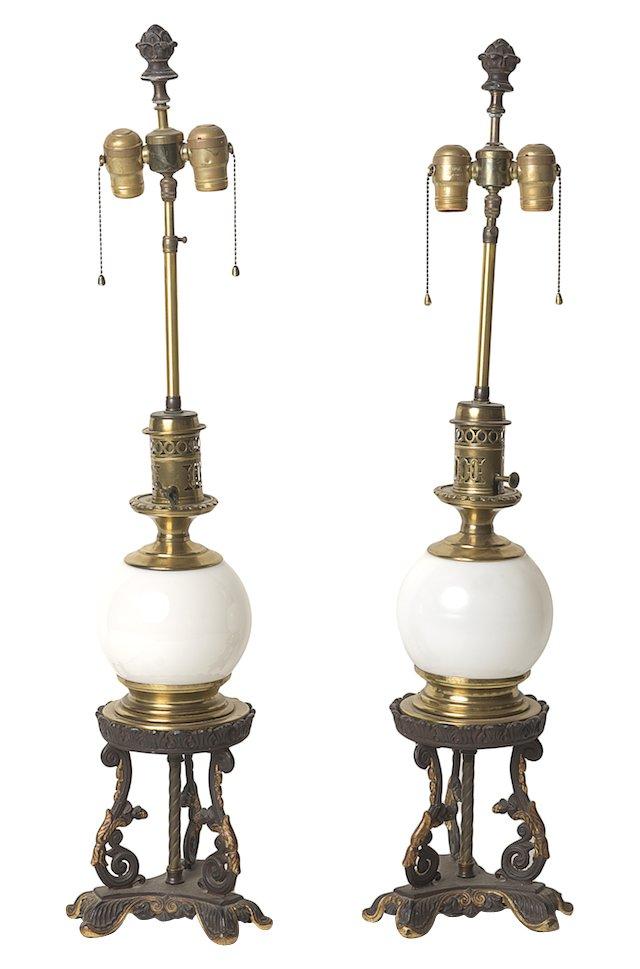 Ball & Brass Lamps, Pair