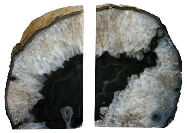 Brown & Crystal Geode Bookends