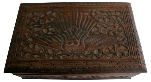 Teak Bird Carved Trinket Box