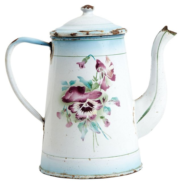 French Enameled Pansey Coffee Pot