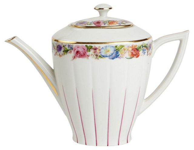 Floral French Porcelain Teapot
