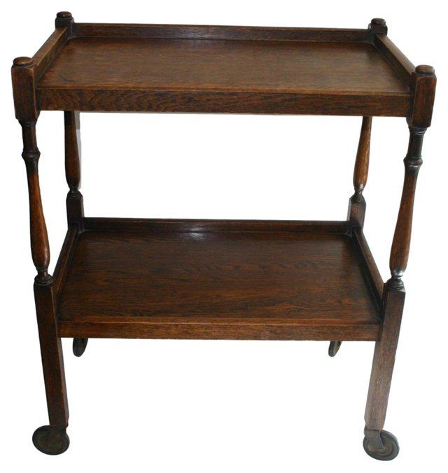 English Oak Serving Cart