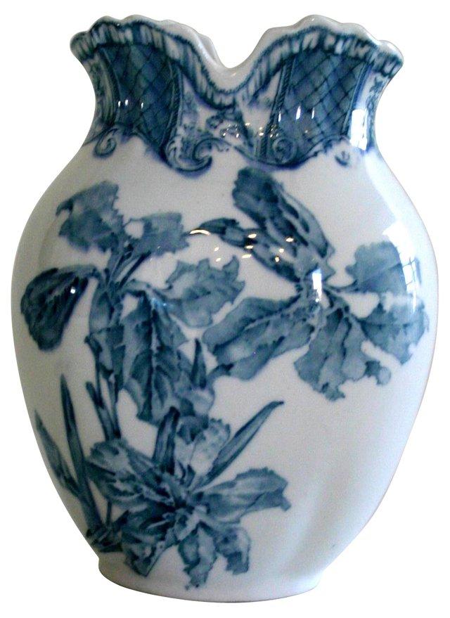 English Blue Transferware Vase