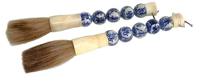Blue & White Calligraphy  Brushes, Pair