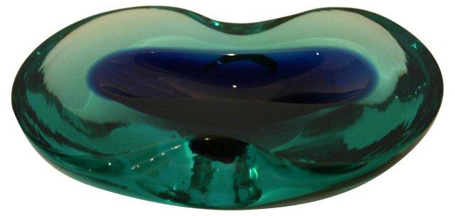 Murano Green & Navy Geode Bowl