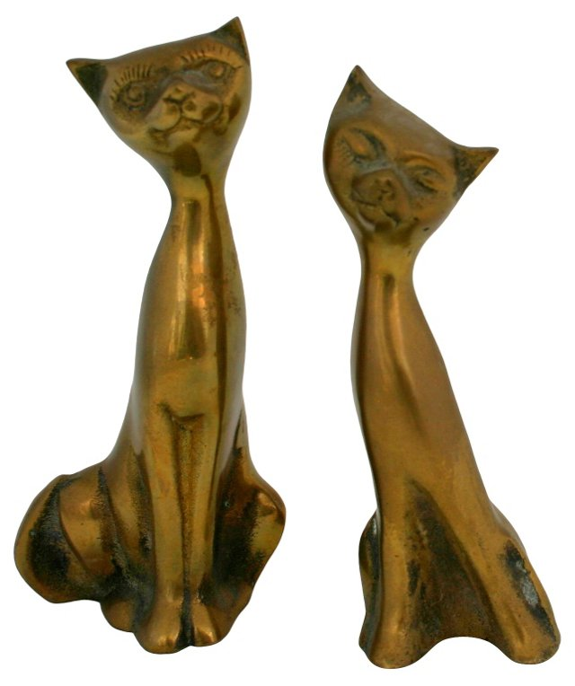Smiling Brass Cats, Pair