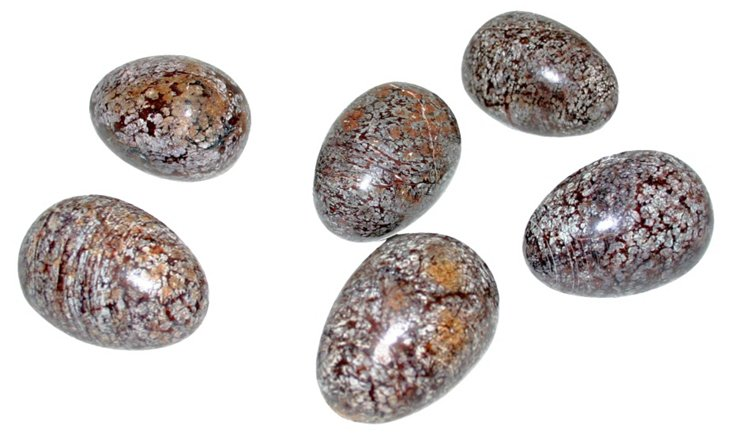 Speckled Brown Stone Eggs, S/6
