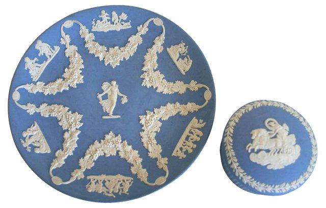 Wedgwood Plate & Trinket Box, Pair