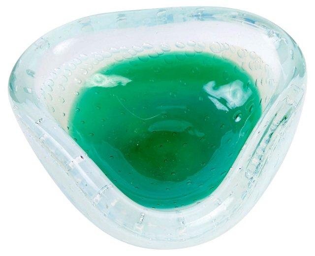 Murano Green & White Opaline Bowl