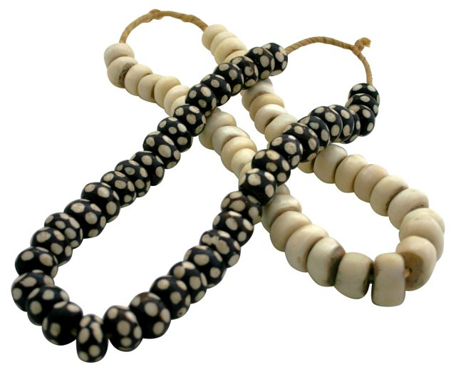 White & Black Dot Bone Beads, Pair