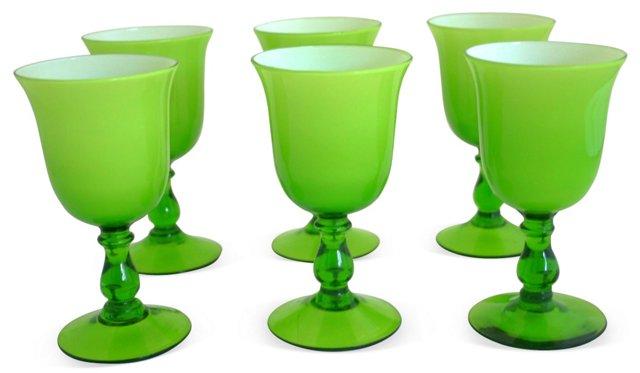 Murano Lime Green Wine Glasses, S/6