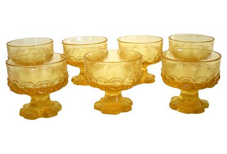 Corn Silk Madeira Sherbet Glasses, S/7