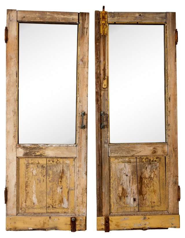 French Doors w/ Glass Panels, Pair