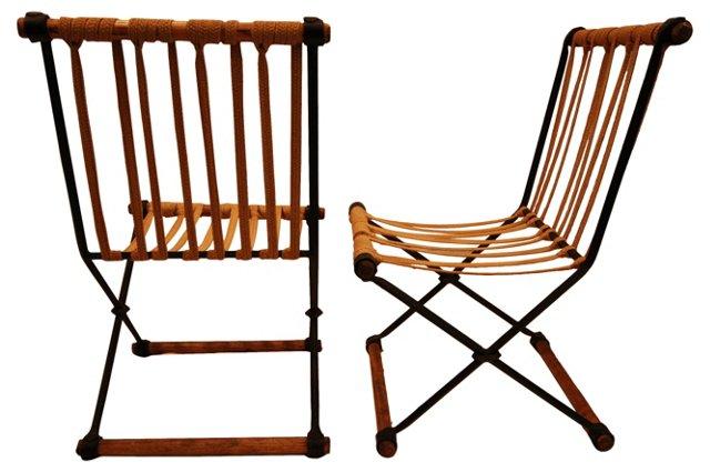 Cleo Baldon Oak & Iron Chairs, Pair