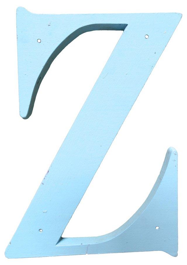 Blue Wood Letter Z