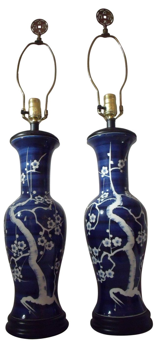 Asian Porcelain Lamps, Pair