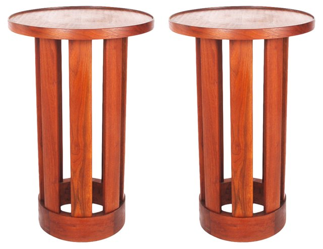 Danish Teak Drum Tables, Pair