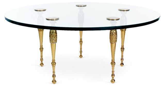 1960s Italian Brass & Glass Table