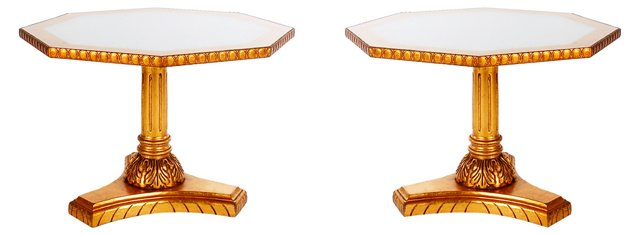 Gold Lacqured  Tables, Pair