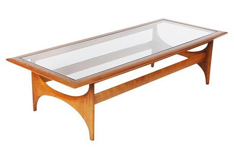 Walnut &  Glass Coffee Table