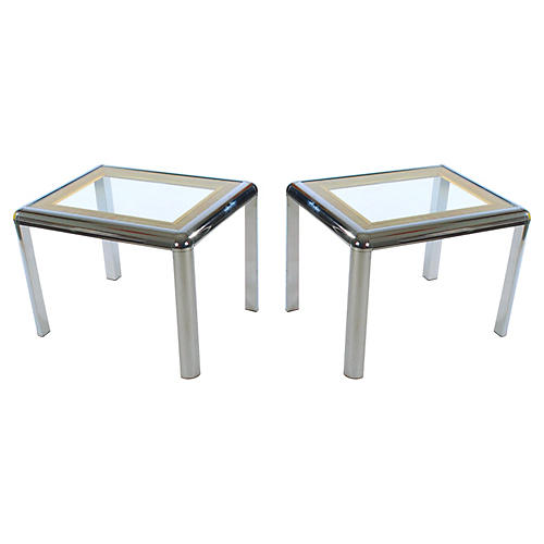 Chrome & Rattan Side Tables, Pair