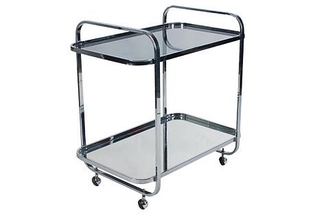 Modernist Chrome & Glass Bar Cart