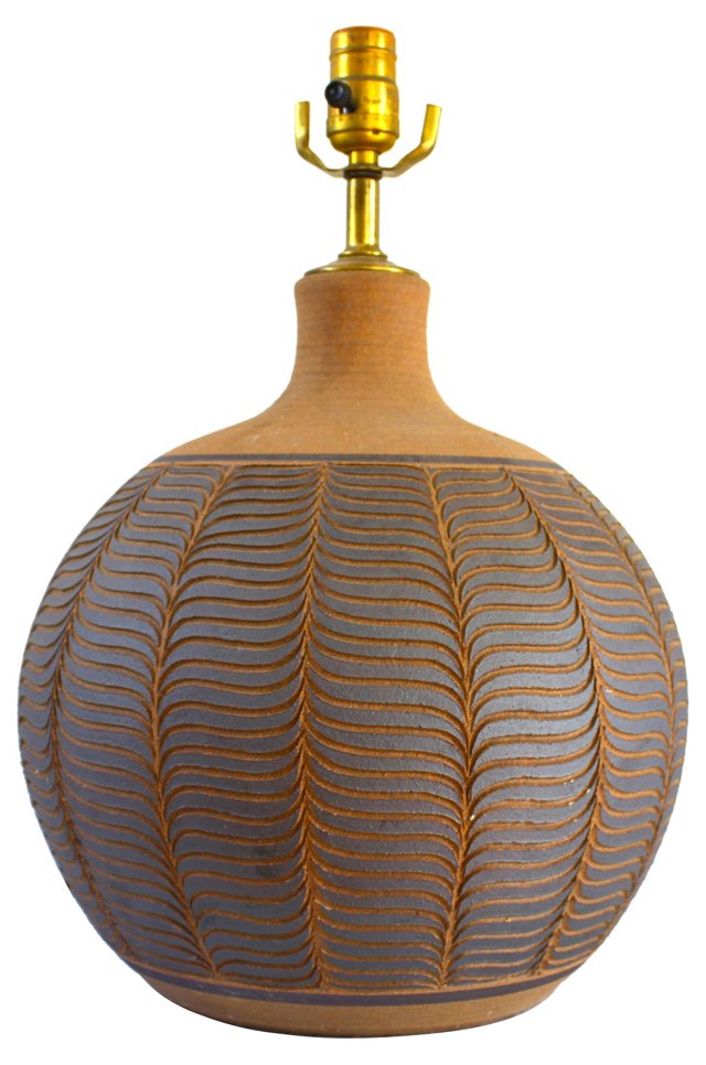 Midcentury Incised Ceramic Lamp