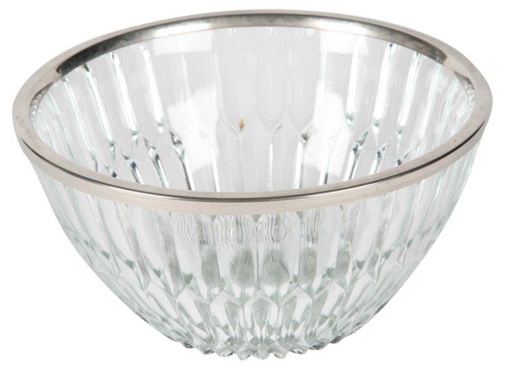 Glass Bowl w/ Silver Rim