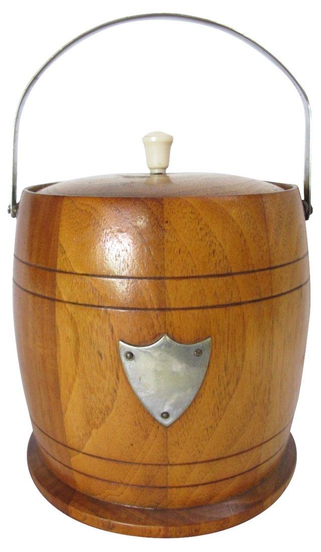 Porcelain-Lined   Oak Biscuit Barrel