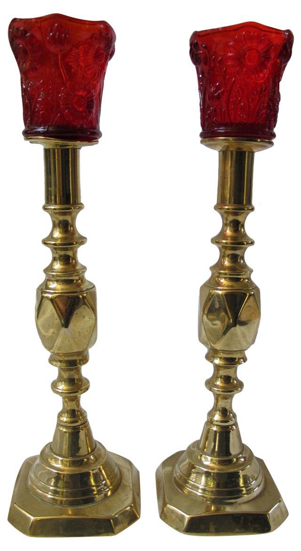 English Candlesticks & Votive Cups, Pair