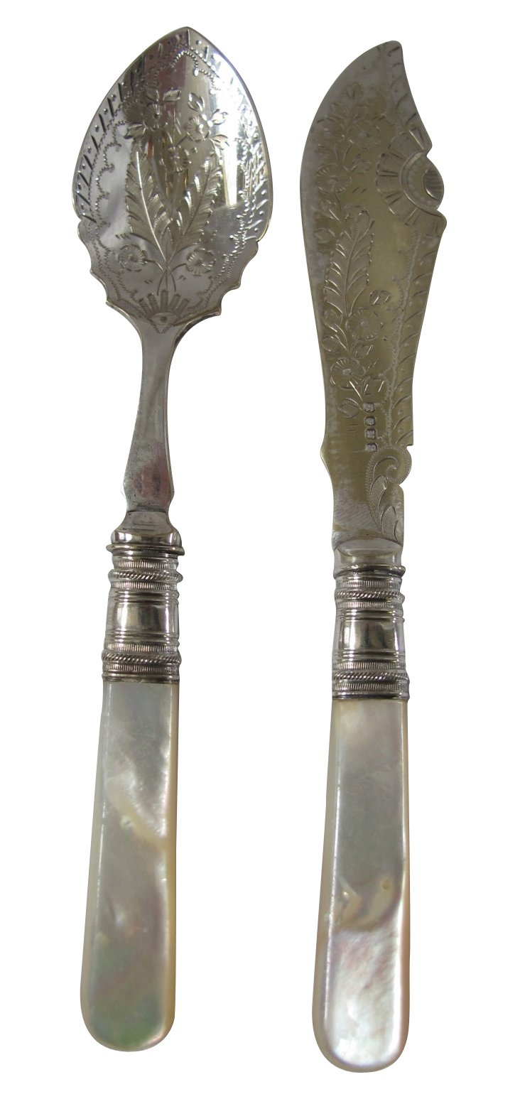 Mother-of-Pearl Butter Knife & Spoon