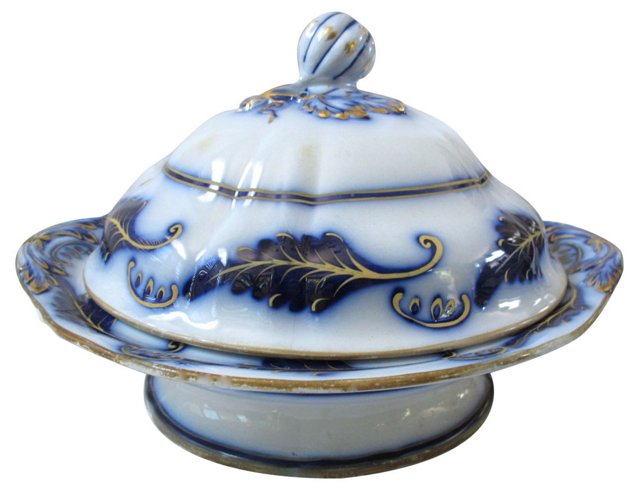 Early Flow Blue Covered Tureen
