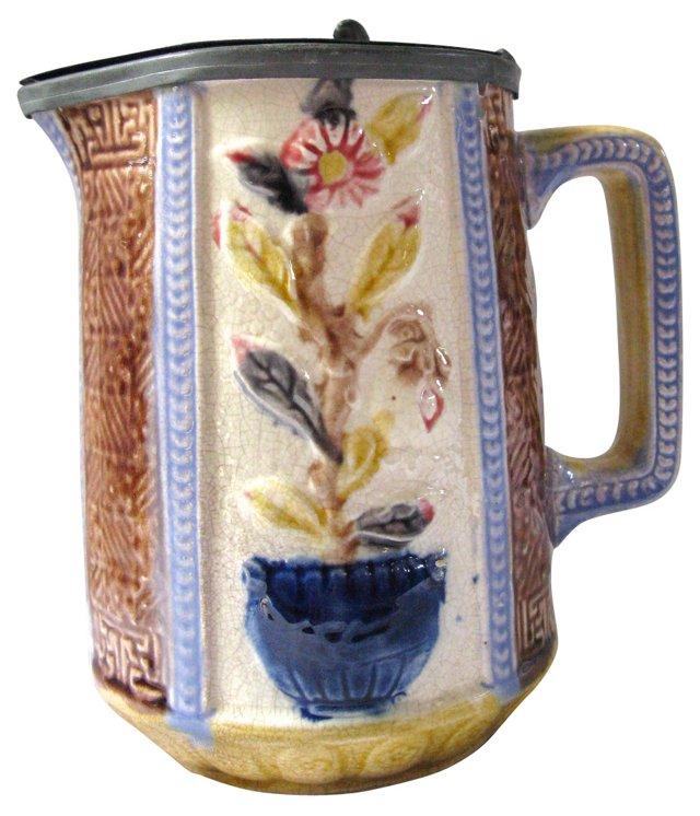 Antique Majolica Pewter Lid Floral Jug