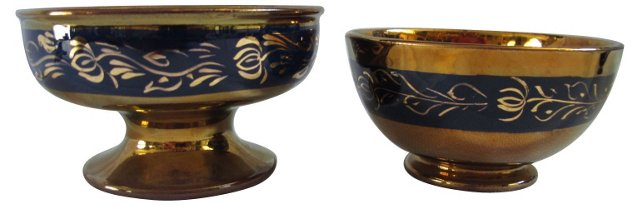 Antique Luster Bowls, Pair