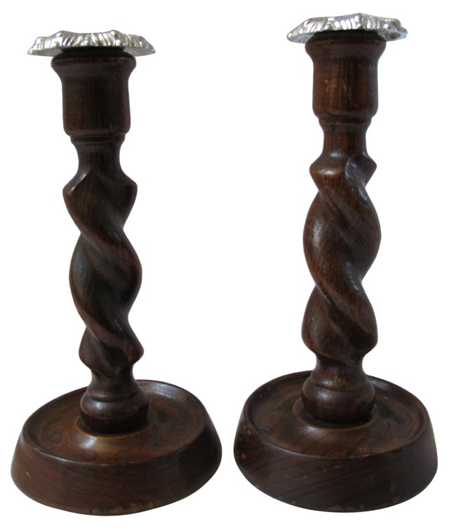 English  Oak Twist Candleholders, Pair