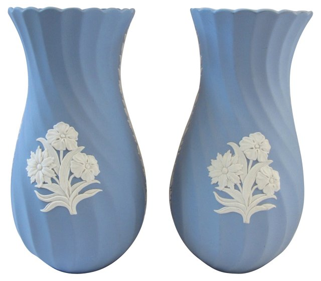 Wedgwood Jasperware Flower Vases, Pair